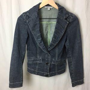 CAbi Fitted Denim Blazer/Jacket Dark Wash Size XS